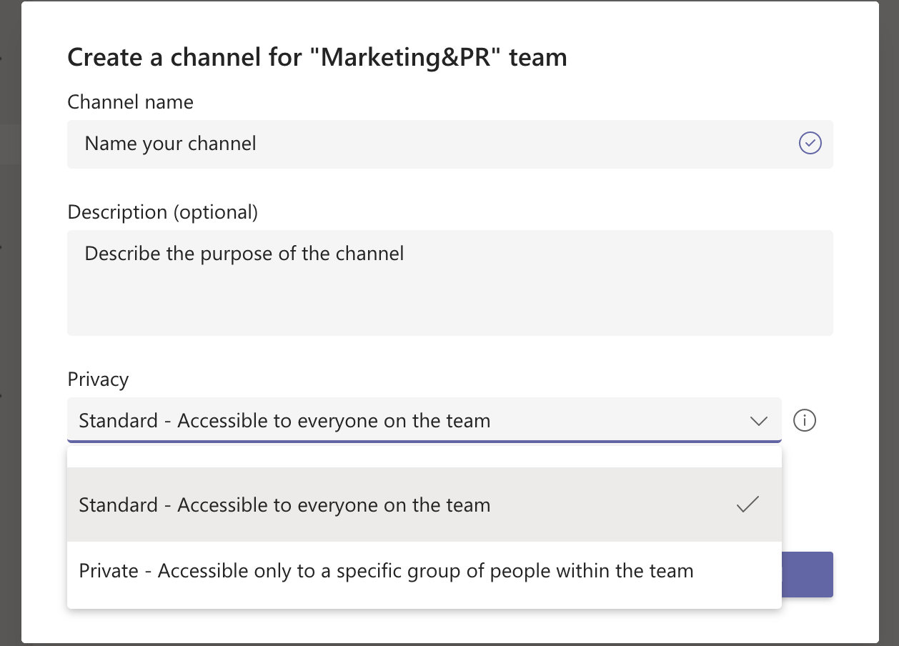 Creating a new channel on Microsoft Teams