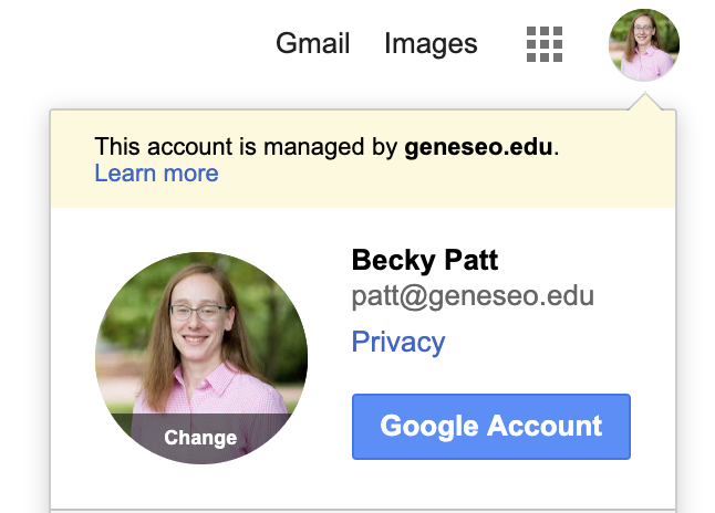 Gmail profile of Becky Patt as example