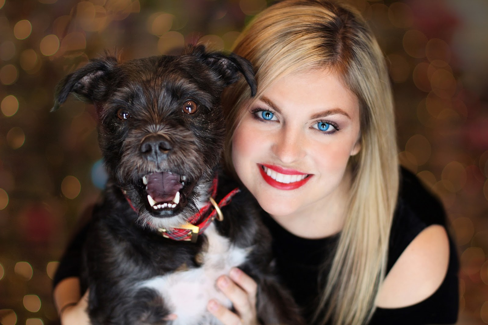 black dog smiling with woman