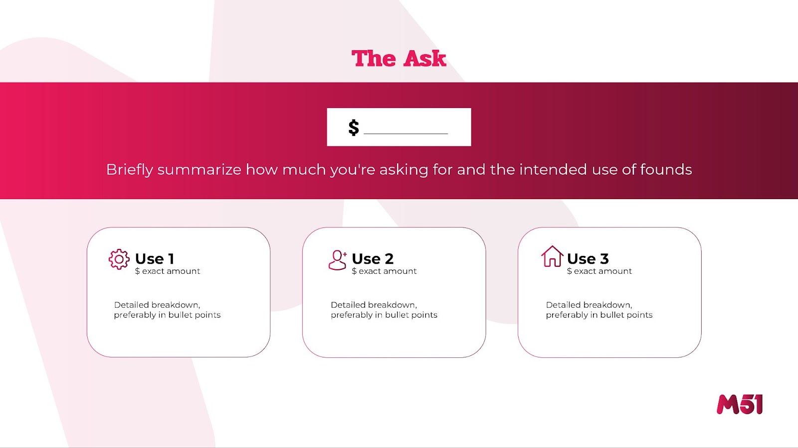 m51 Pitch Deck Outline: The Ask