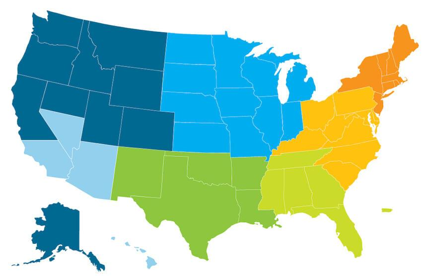 Map of the United States divided into sales territories by color