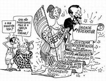 Charge sobre a Primeira Constituição Brasileira após a Proclamação da República.