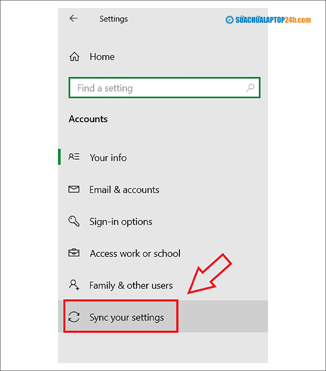 Chọn Sync your settings