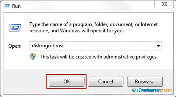 Truy cập Disk management