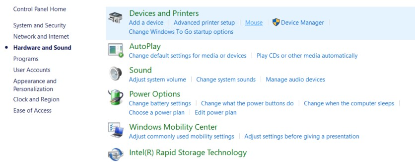 The Hardware and Sound window with the Devices and Printers option highlighted with a shade of blue