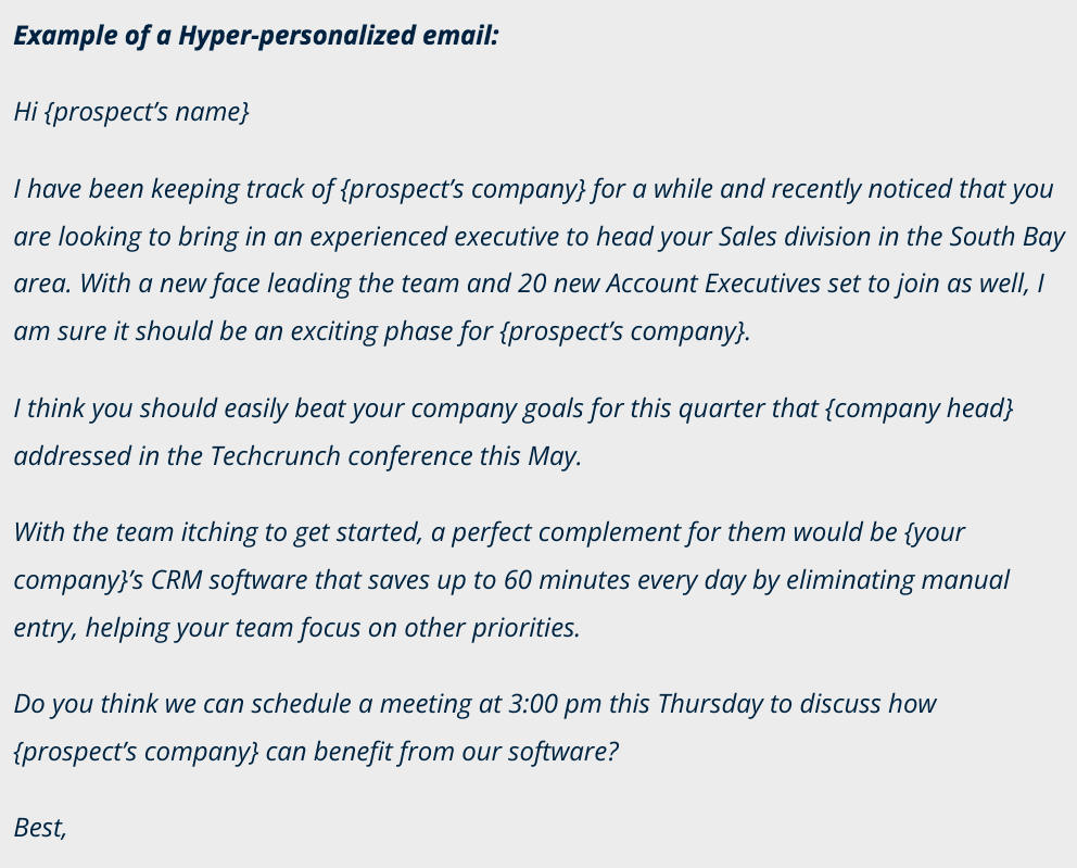 example of a hyper-personalized email