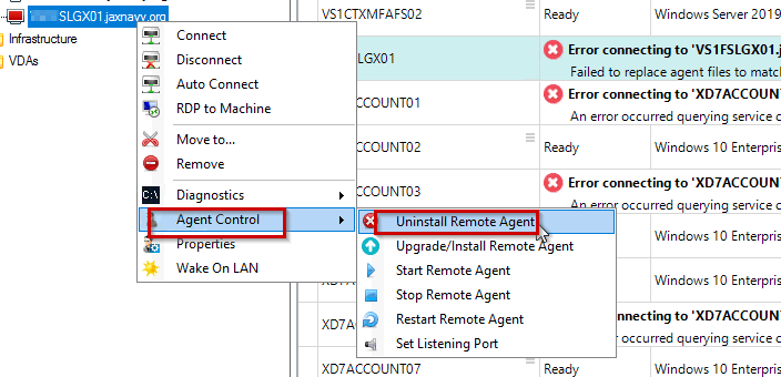 Uninstall Remote Agent