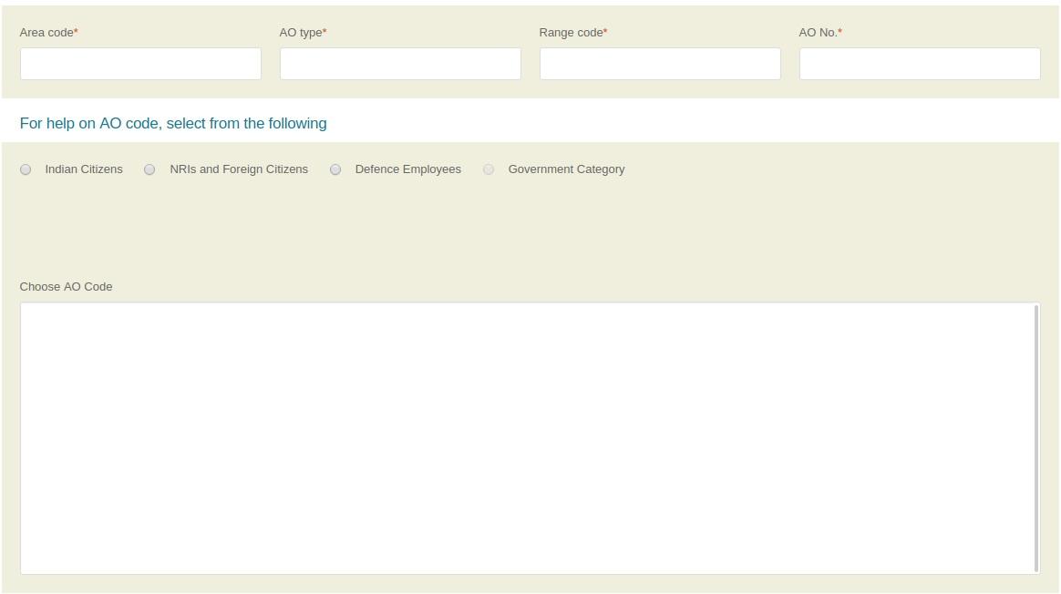 Entering Assessing Officer details while applying for pan card online