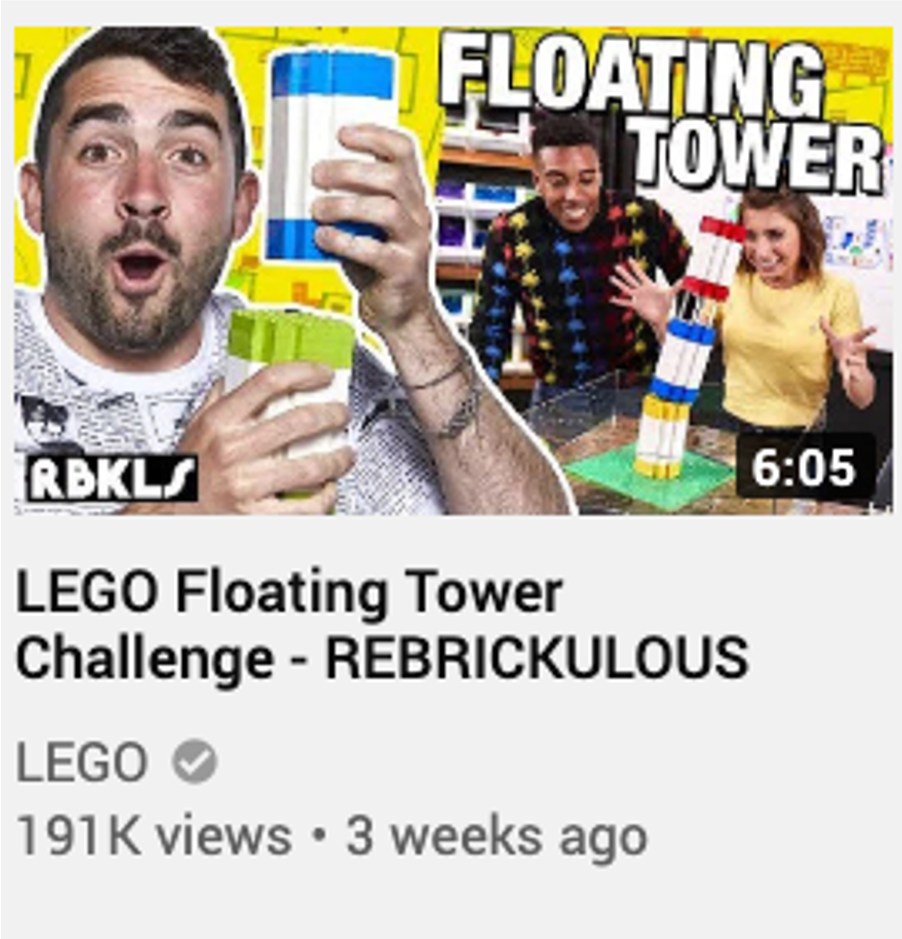 Title example for LEGO Floating Tower Challenge - Rebrickulous