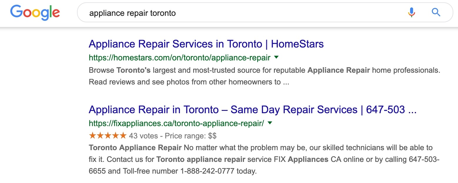 rich snippet search results versus result without rich snippet