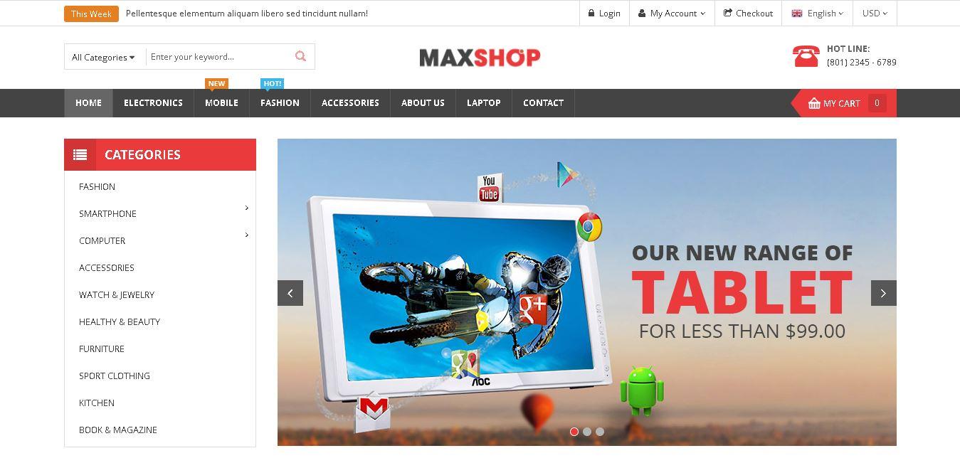 Digital products magento theme maxshop