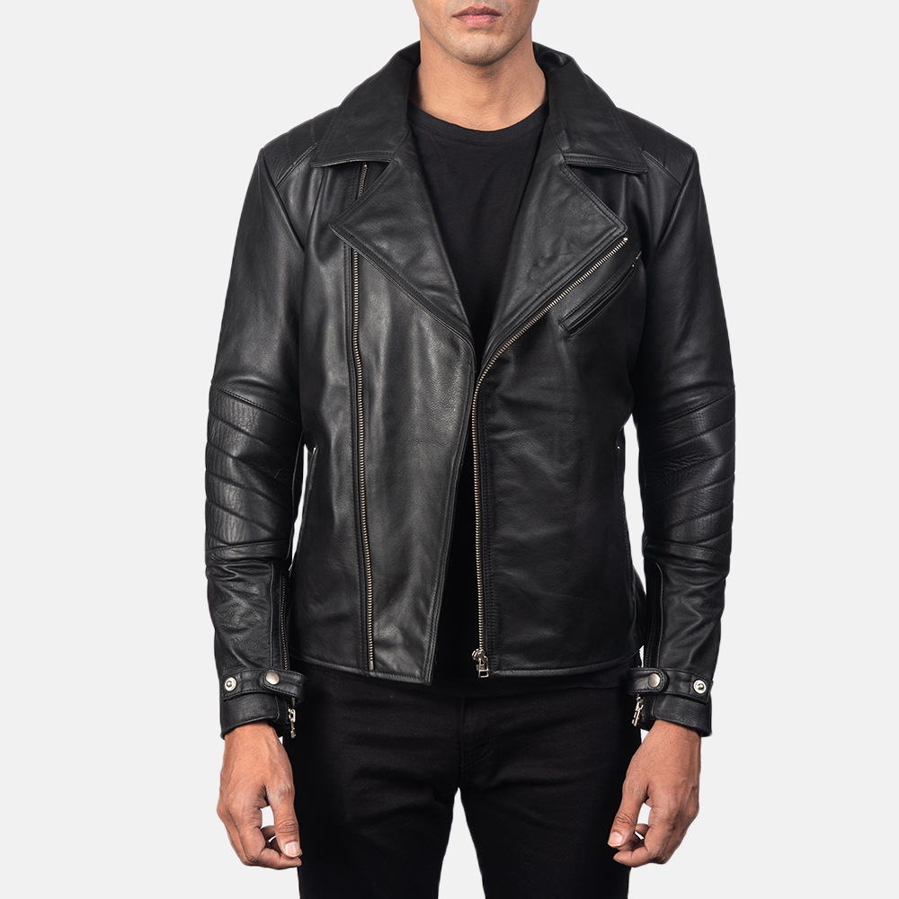 black double rider biker jacket