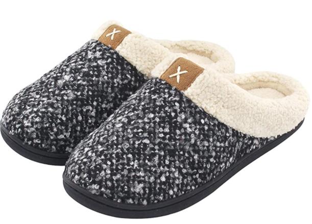 wool-like cozy slippers with open heel