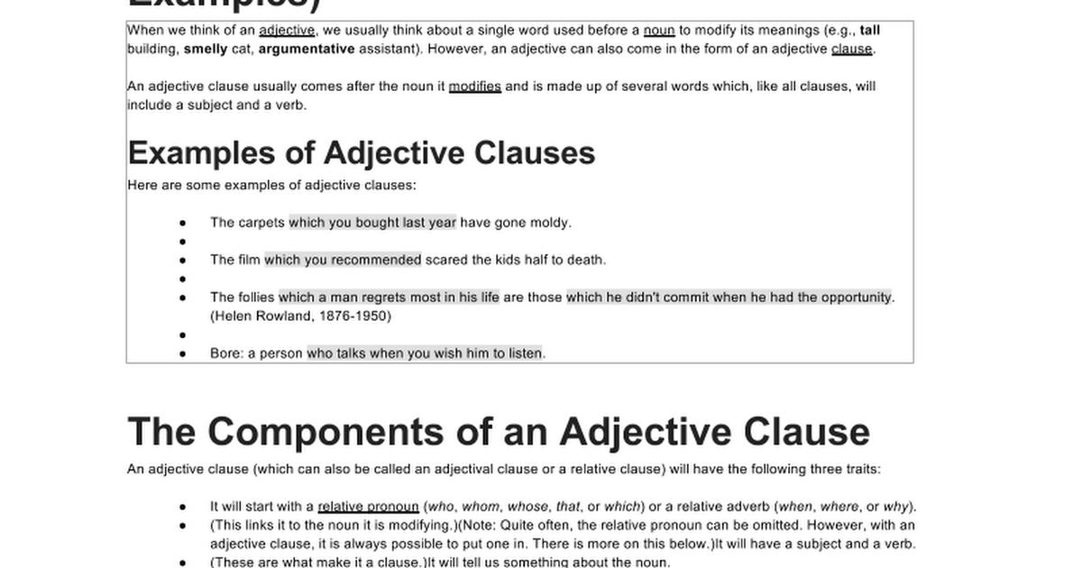 Noun Adverb Adjective Clause Notes Google Docs