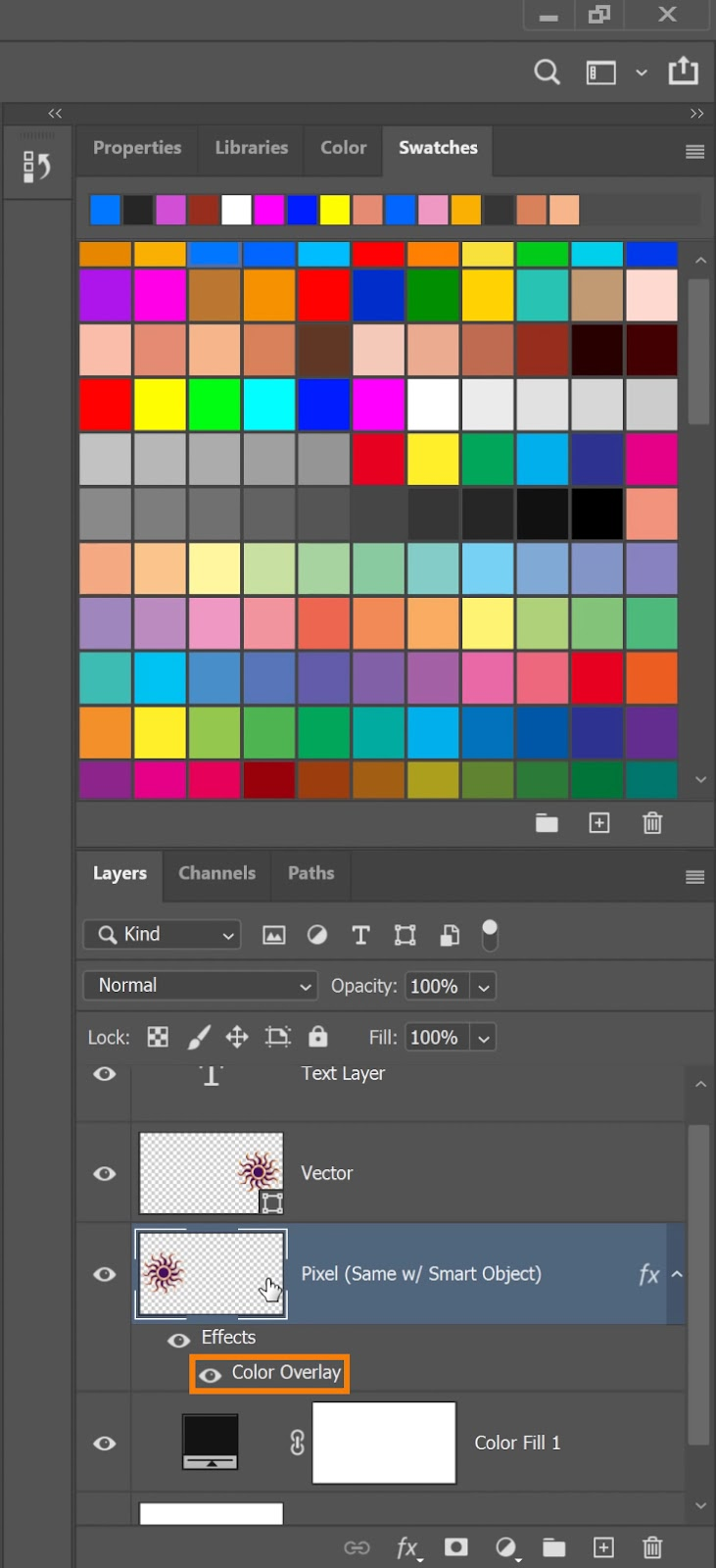 Double-click on the Color Overlay