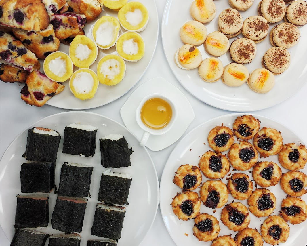 French macarons, mini cupcakes, scones, jam thumbprints and spam musubi... perfect treats for any party via design. bake. run.
