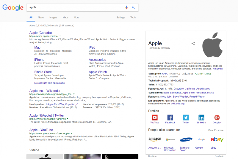 Screenshot of a google search for apple term yielding results related to Apple as a company