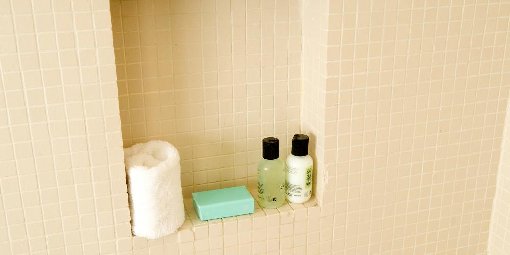 toiletry bottles in shower