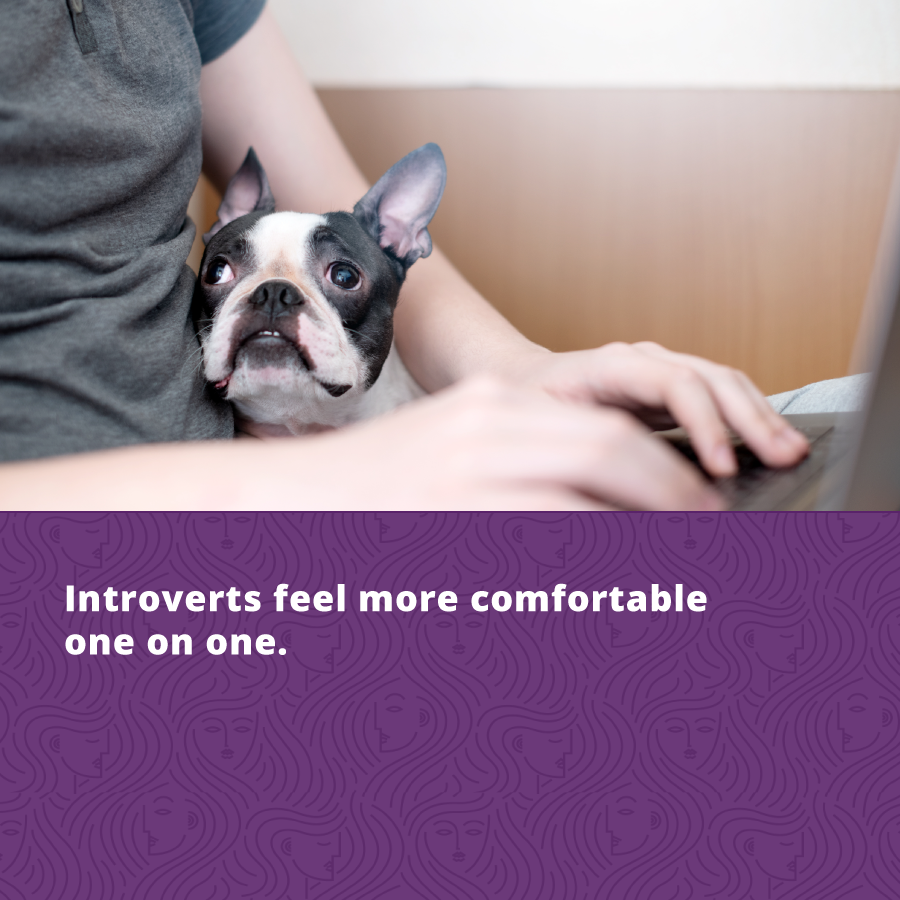 Introvert personality type feels more comfortable one on one