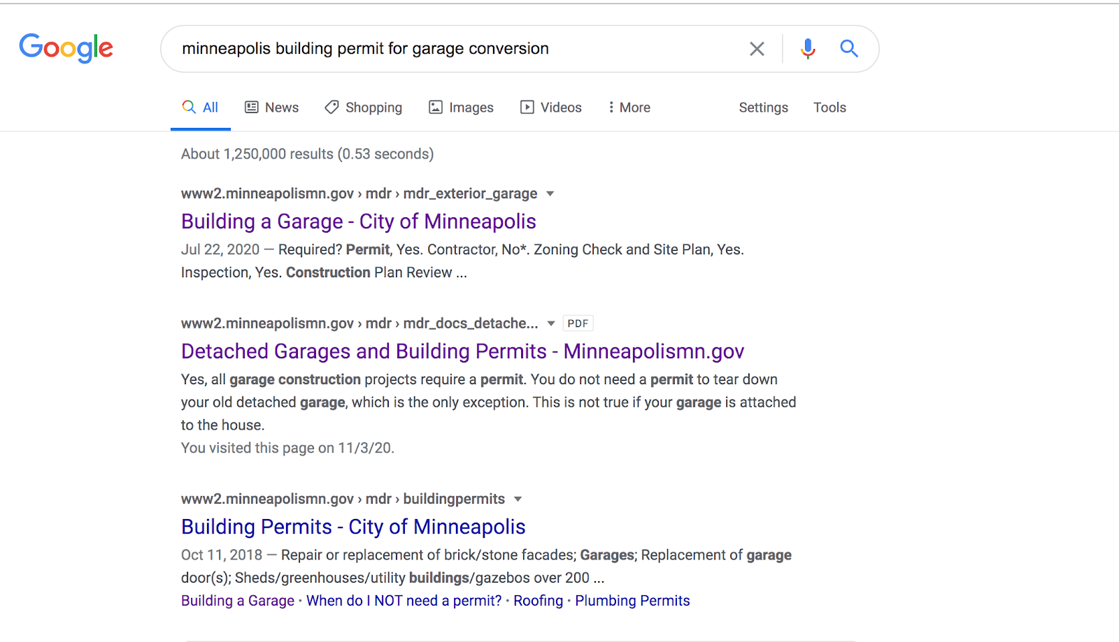 Minneapolis Building permit for garage conversion