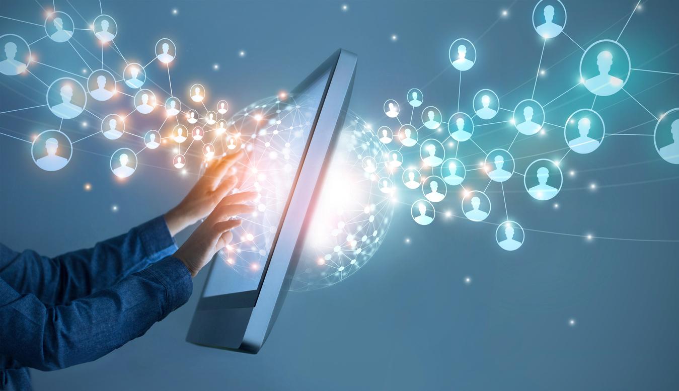 A digital web of customer personas, representing customer insight as a benefit of holistic digital transformation.