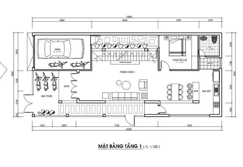 Bản vẽ thiết kế nhà 2 tầng mặt tiền 7m
