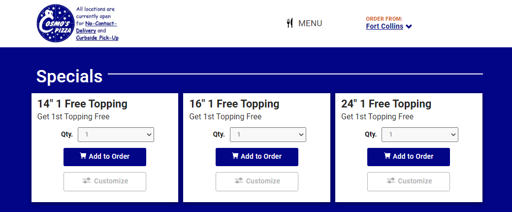 Feature cards with a list of pizza sizes
