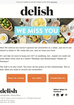 delish email campaign