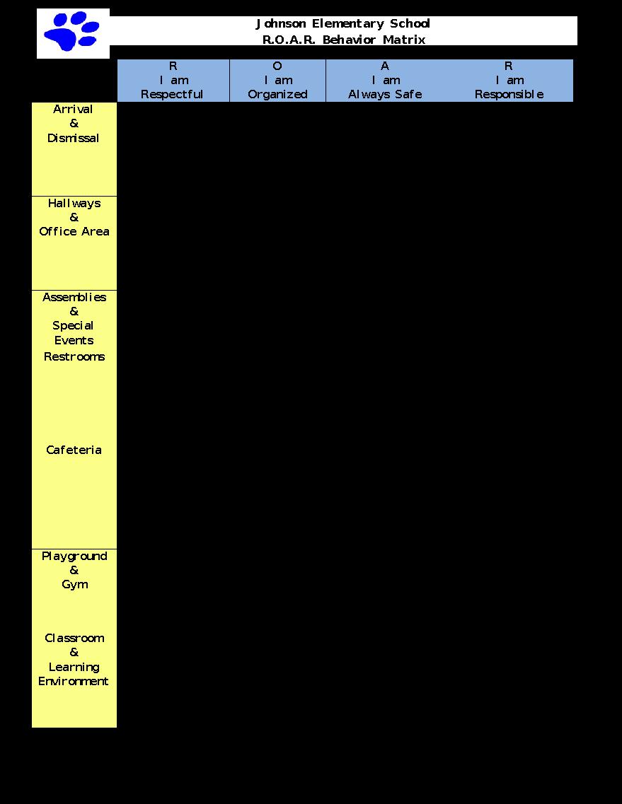 /Volumes/carter/Technical Assistance/Counties/Franklin SSD/FS_JES/Implementation Materials/Tier I/JES ROAR Behavior Matrix.pdf