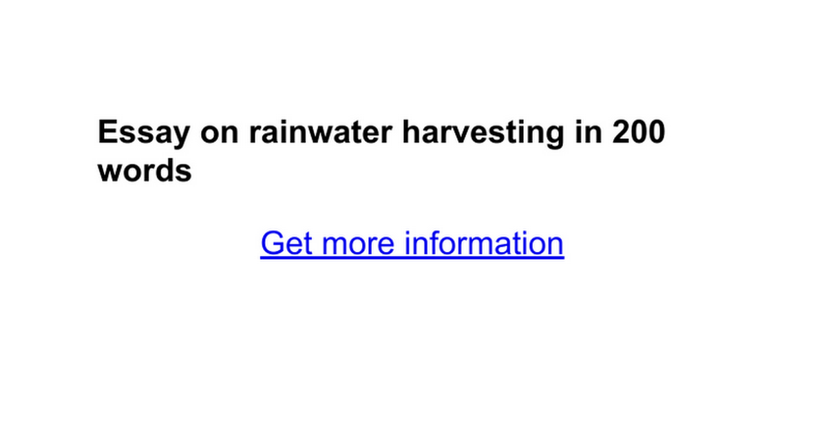 essay on rainwater harvesting in words google docs