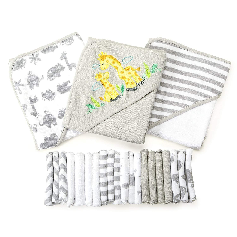 Spasilk's 23-Piece Essential Baby Bath Gift Set (Gray)