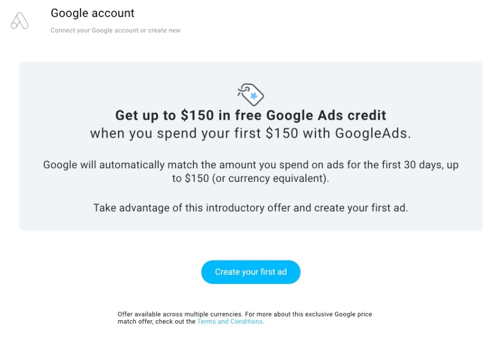 Google providing $150 in matched ad spend for the first $150 used on Google Ads.