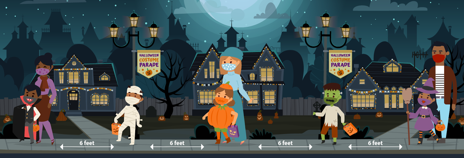 illustration of adults and children participating in a Halloween costume parade
