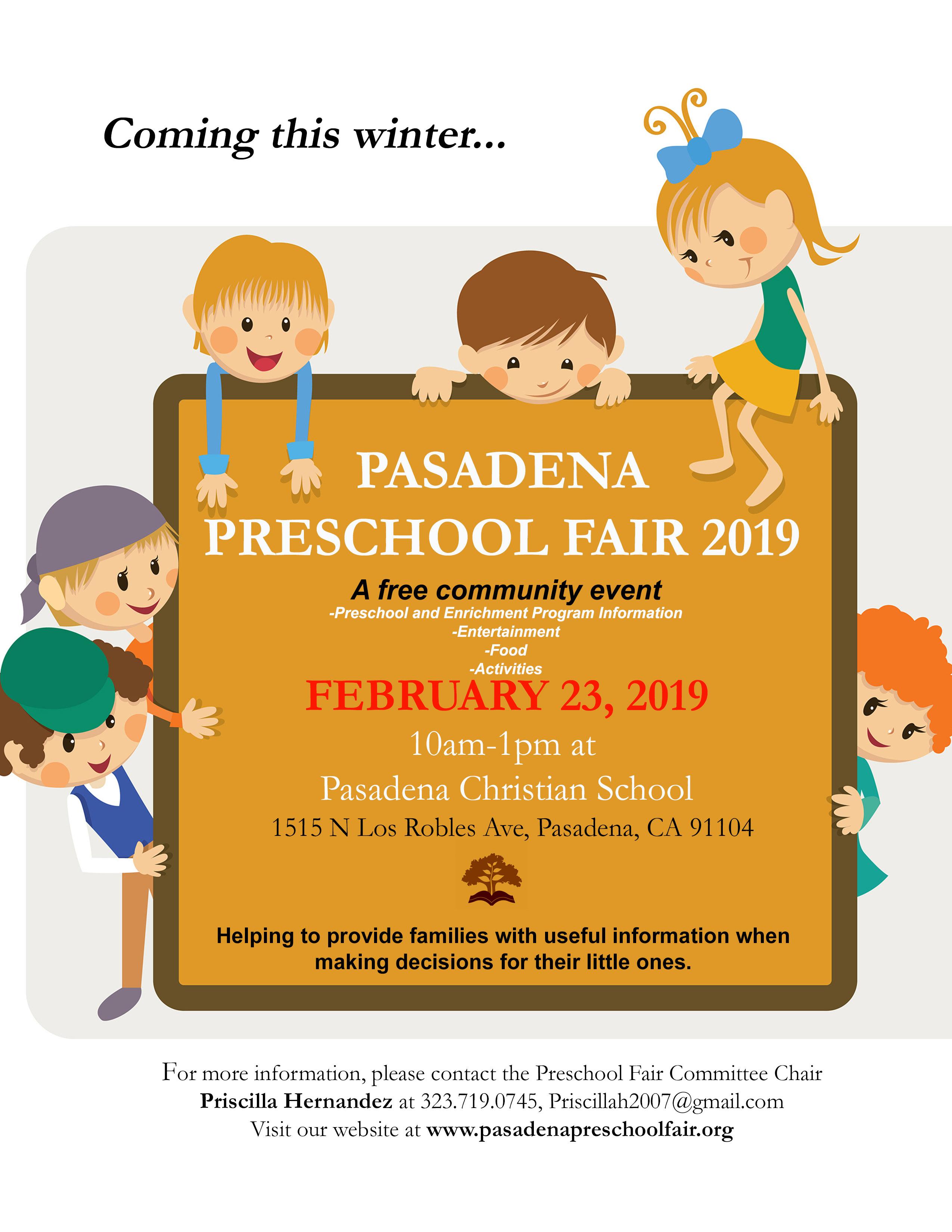 Join us this February at the annual Pasadena Preschool Fair! The fair will  feature local preschools 5a5b304d8