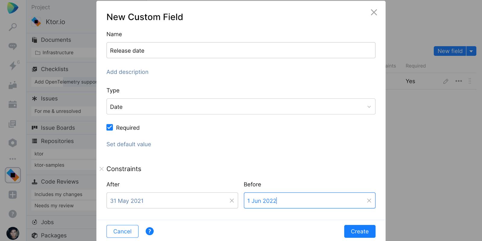 Custom issue field settings in Space