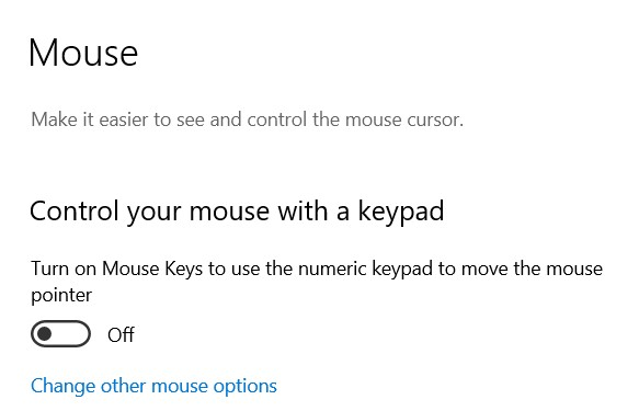 The Mouse Keys page in the Windows Settings