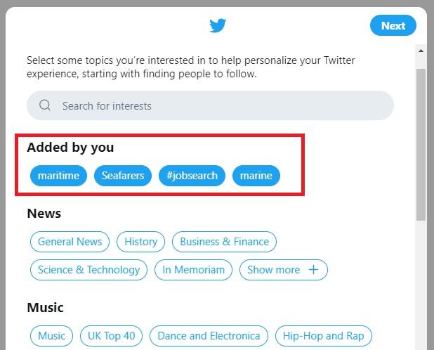 screenshot of Twitter showing added interestd