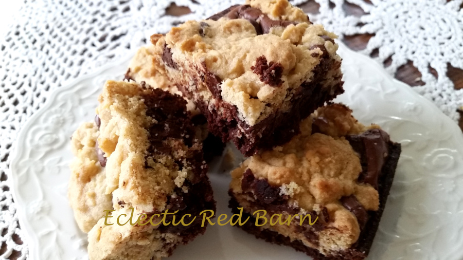 Eclectic Red Barn:  Chocolate Cookie Dough Brownies