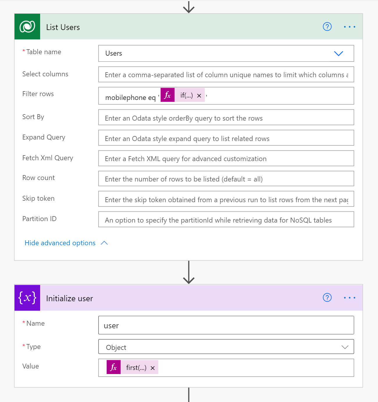 list users form in Power Automate