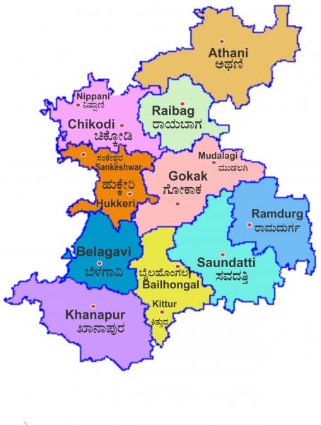 Belgaum city map with all the towns in the city