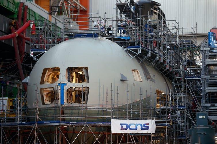 A Barracuda submarine under construction in France.