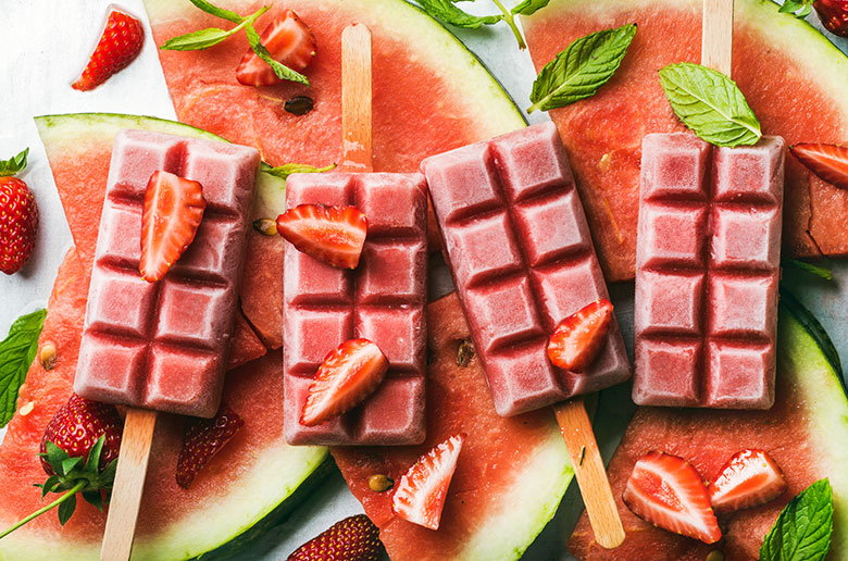 watermelons, ice cream