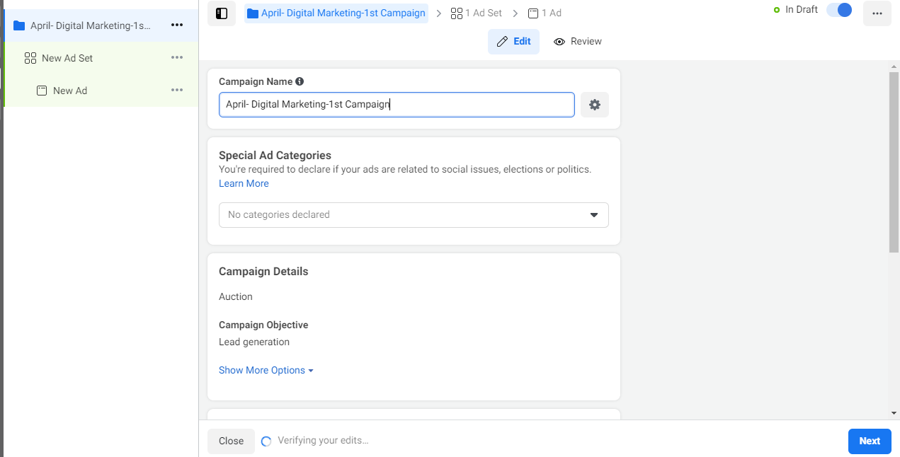 How to Set up Facebook Ad campaign for Salon Business - Provide the Campaign Name - Lia infraservices