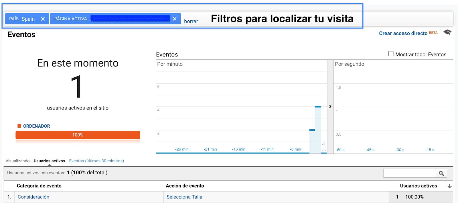 Informe de tiempo real en Google Analytics Universal