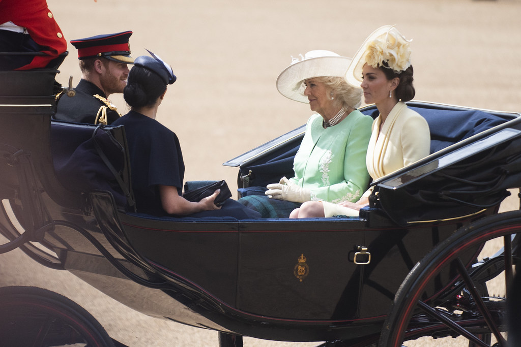 Harry, Meghan, Kate Middleton, and Camilla Parker-Bowles sit in a carriage cordially facing each other.