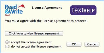 Read&Write Licence agreement window