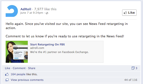 An example of AdRolls remarketing display ad being shown on Facebooks newsfeed