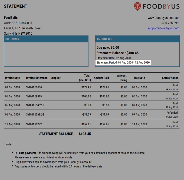 FoodByUs_dashboard_statement_and_invoices_sample_statement