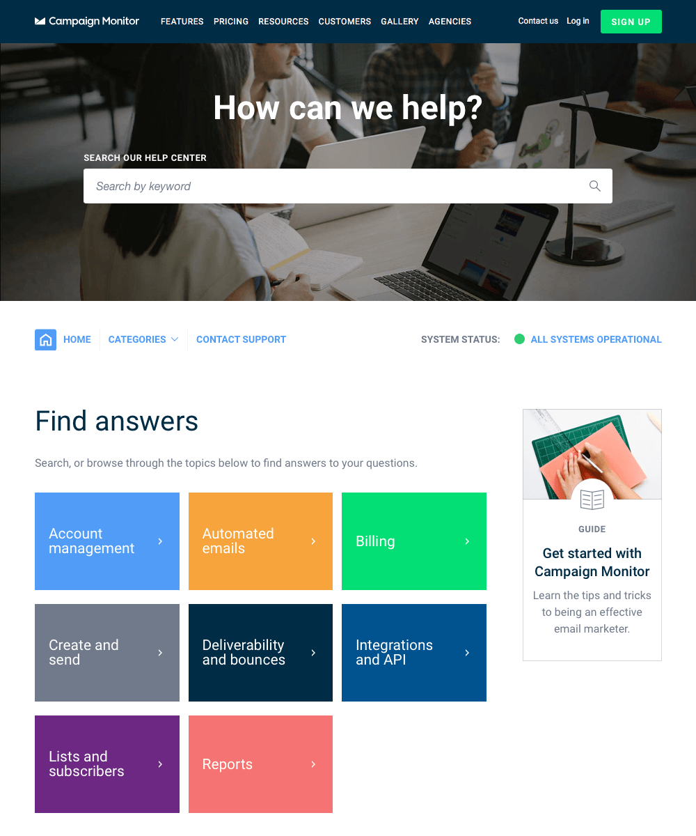Example of a knowledge base for self-service customer support