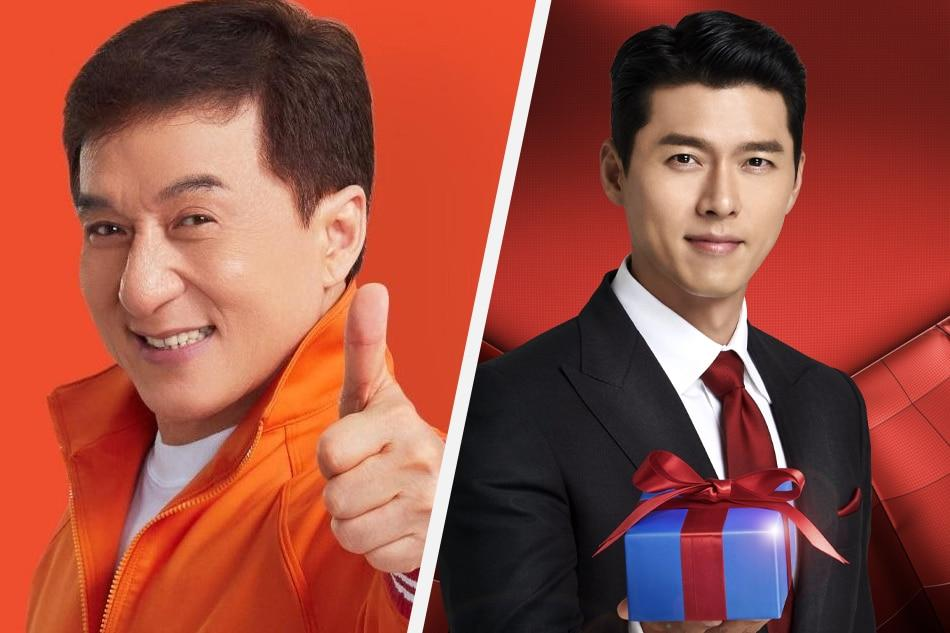 Jackie Chan (left) and Hyun Bin have been tapped to promote the sale events of Shopee and Lazada, respectively